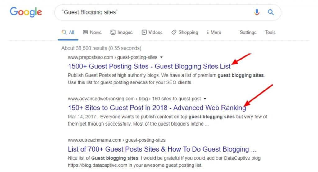 Google search guest blogging link bulding techniques in hindi