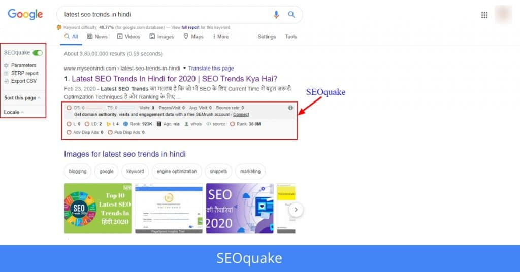 SEOquake seo tools in hindi