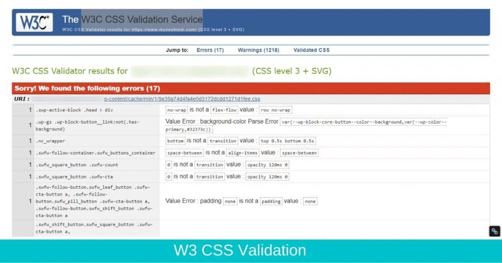W3 css validation technical seo in hindi